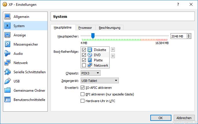Einstellung IO-APIC aktivieren für Windows XP VBox