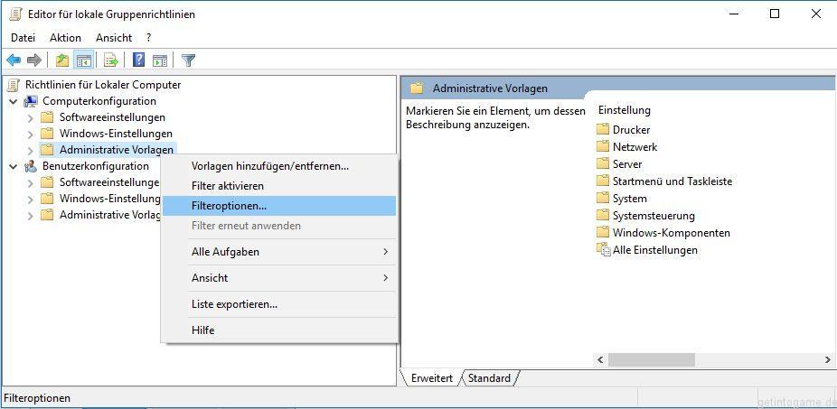 Filter auf Administrative Vorlagen erstellen