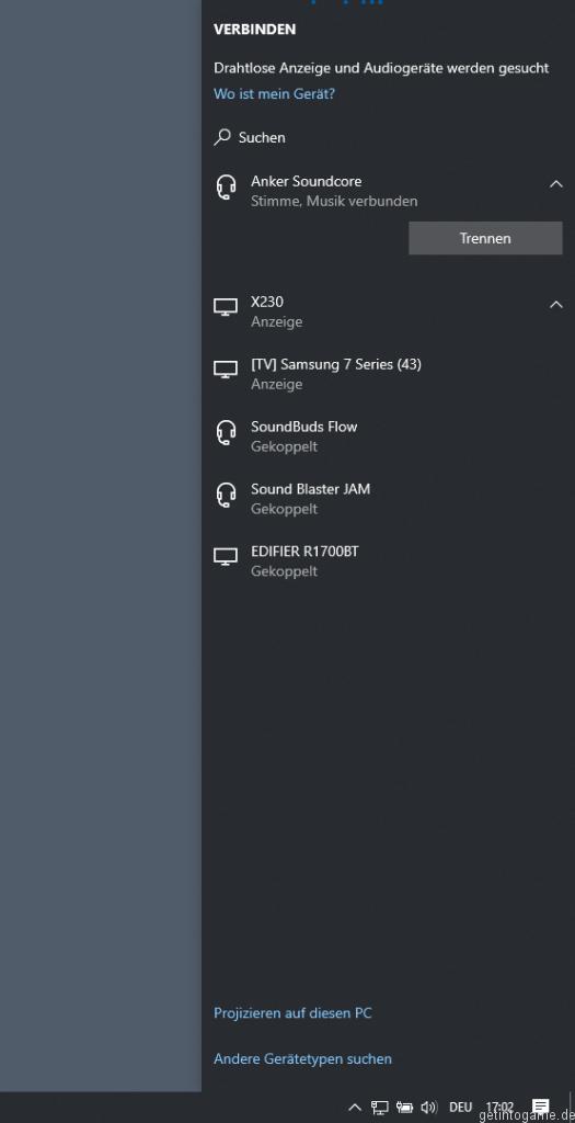 Windows+K Bluetooth Devices